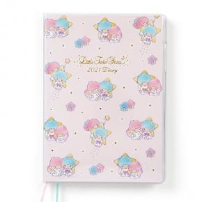小禮堂 雙子星 日製 2021 B6行事曆 手帳 年曆 記事本 (粉藍 滿版)