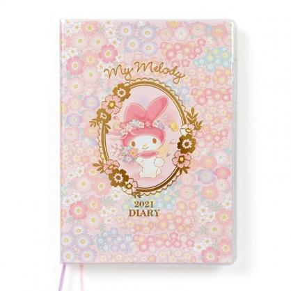 小禮堂 美樂蒂 日製 2021 B6行事曆 手帳 年曆 記事本 (粉黃 花朵)