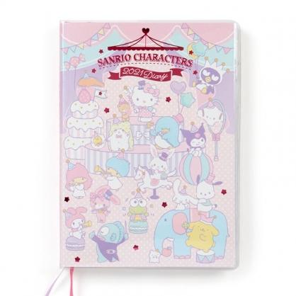 小禮堂 Sanrio大集合 日製 2021 B6行事曆 手帳 年曆 記事本 (紫 馬戲團)