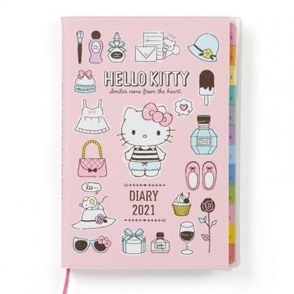 小禮堂 Hello Kitty 日製 2021 B6標籤行事曆 手帳 年曆 記事本 (粉 物品)