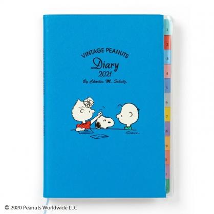 小禮堂 史努比 日製 2021 B6標籤行事曆 手帳 年曆 記事本 (淡藍 露西)