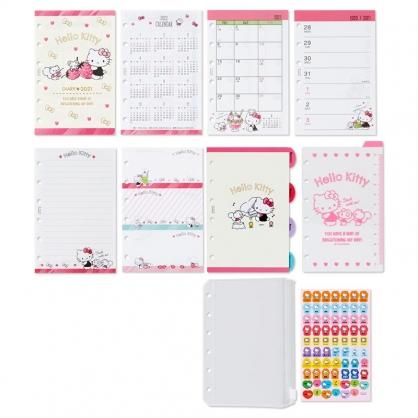 小禮堂 Hello Kitty 日製 2021 6孔活頁行事曆補充頁 記事本內頁 手帳 年曆 行事曆 (黃粉)