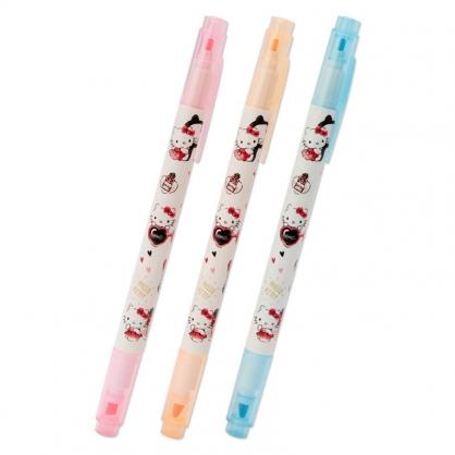 小禮堂 Hello Kitty 日製 牛奶色雙頭螢光筆組 標示筆 彩色筆 記號筆 (3入 米 汽球)