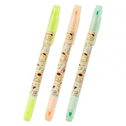 小禮堂 布丁狗 日製 牛奶色雙頭螢光筆組 標示筆 彩色筆 記號筆 (3入 黃 倉鼠)