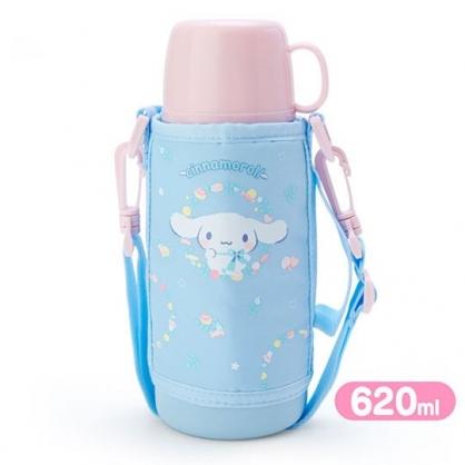 小禮堂 大耳狗 彈蓋不鏽鋼保溫瓶附水壺袋《藍.戴領結》620ml.水壺.水瓶
