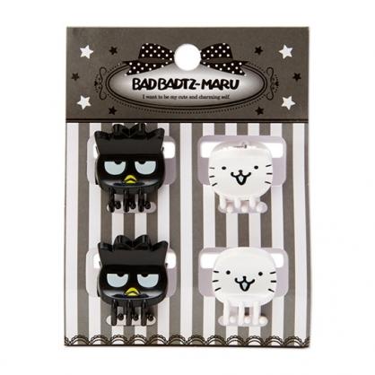 小禮堂 酷企鵝 迷你造型塑膠髮夾組 迷你鯊魚夾 小髮夾 瀏海夾 (4入 黑白 大臉)