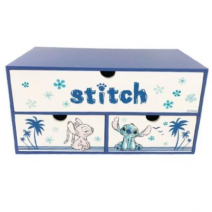 小禮堂 迪士尼 史迪奇 橫式木質三抽收納櫃 抽屜櫃 小木櫃 桌上型收納櫃 (藍白 椰子樹)