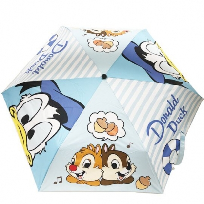 小禮堂 迪士尼 唐老鴨 奇奇蒂蒂 折疊雨陽傘 三折雨傘 折疊雨傘 雨具 (藍白 探頭)