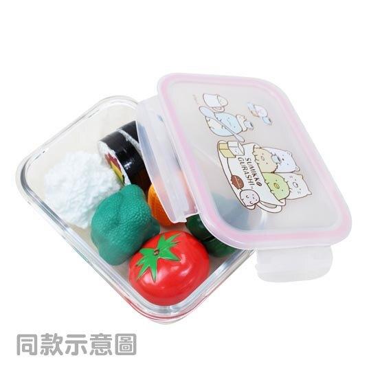 小禮堂 角落生物 耐熱玻璃保鮮盒 微波便當盒 玻璃便當盒 800ml (綠邊 零食)