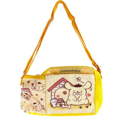 小禮堂 布丁狗 方形尼龍雙層斜背包 水壺袋 運動背包 隨身背包 (黃粉 狗屋)