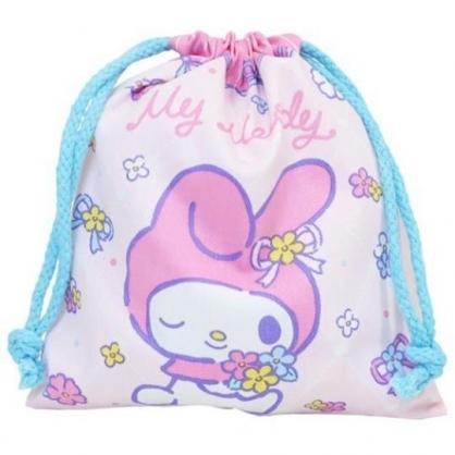 小禮堂 美樂蒂 棉質束口袋 旅行收納袋 小物收納袋 縮口袋 (粉綠 花束)