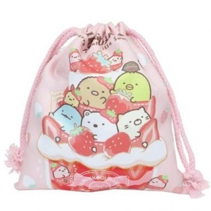 小禮堂 角落生物 棉質束口袋 旅行收納袋 小物收納袋 縮口袋 (紅粉 草莓)