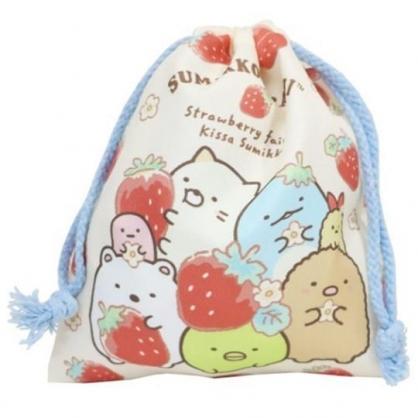 小禮堂 角落生物 棉質束口袋 旅行收納袋 小物收納袋 縮口袋 (紅黃 草莓)