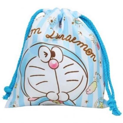 小禮堂 哆啦A夢 棉質束口袋 旅行收納袋 小物收納袋 縮口袋 (淡藍 直紋)