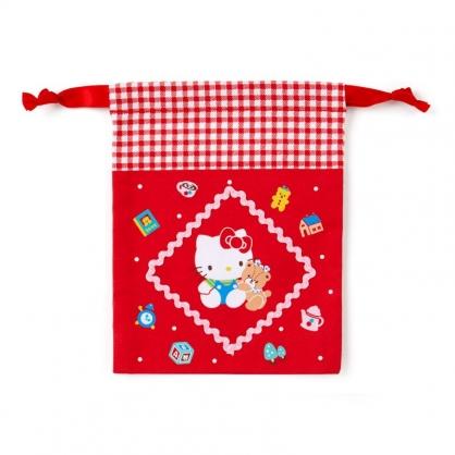 小禮堂 Hello Kitty 日製 棉質束口袋 迷你束口袋 小物收納袋 縮口袋 (紅 格紋)