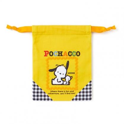 小禮堂 帕恰狗 日製 棉質束口袋 迷你束口袋 小物收納袋 縮口袋 (黃 格紋)