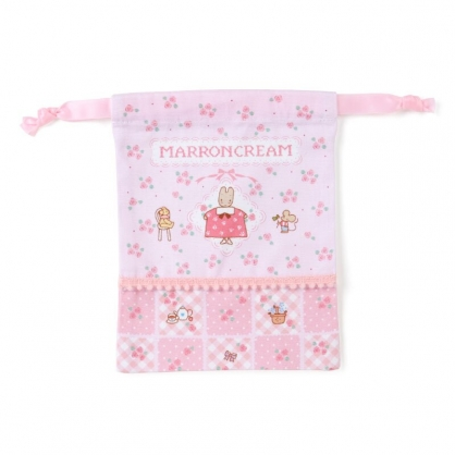 小禮堂 兔媽媽 日製 棉質束口袋 迷你束口袋 小物收納袋 縮口袋 (粉 玫瑰)