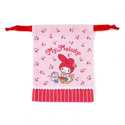 小禮堂 美樂蒂 日製 棉質束口袋 迷你束口袋 小物收納袋 縮口袋 (粉 草莓)