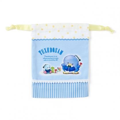 小禮堂 山姆企鵝 日製 棉質束口袋 迷你束口袋 小物收納袋 縮口袋 (藍 禮物)
