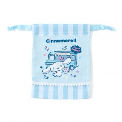 小禮堂 大耳狗 日製 棉質束口袋 迷你束口袋 小物收納袋 縮口袋 (藍 攤車)