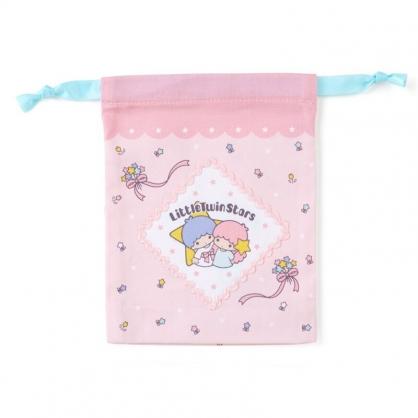 小禮堂 雙子星 日製 棉質束口袋 迷你束口袋 小物收納袋 縮口袋 (粉 星星)