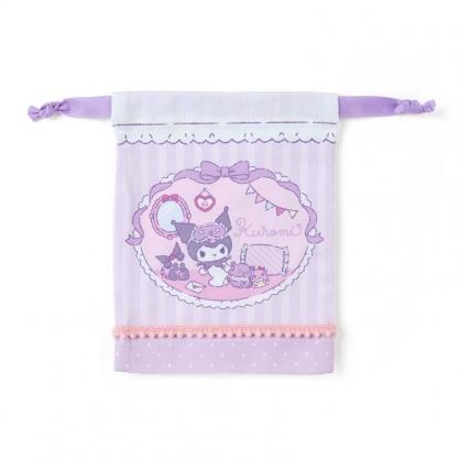 小禮堂 酷洛米 日製 棉質束口袋 迷你束口袋 小物收納袋 縮口袋 (紫 居家)