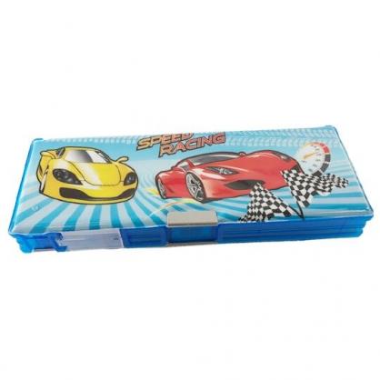 小禮堂 跑車 雙開多功能鉛筆盒 塑膠鉛筆盒 鉛筆袋 (藍 賽車)