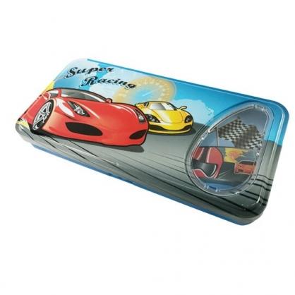 小禮堂 跑車 掀蓋雙層鐵筆盒 鉛筆袋 鉛筆盒 (藍 賽車)