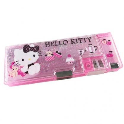 小禮堂 Hello Kitty 雙開多功能鉛筆盒 塑膠鉛筆盒 鉛筆袋 (粉 小熊)