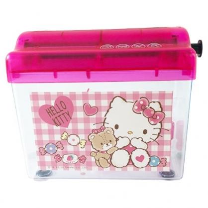 小禮堂 Hello Kitty 桌上型手動碎紙機 手搖碎紙機 碎紙器 絞紙器 (粉 小熊)
