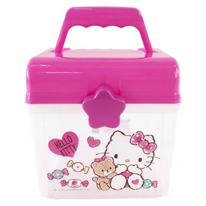 小禮堂 Hello Kitty 方形塑膠手提收納箱 工具箱 藥箱 針線箱 (桃 小熊)