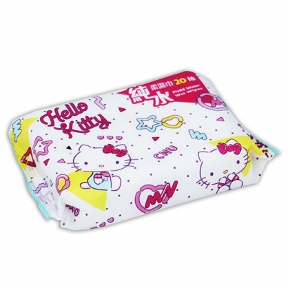 小禮堂 Hello Kitty 20抽純水濕紙巾包 袖珍包濕巾 柔濕巾 (桃白 滿版)