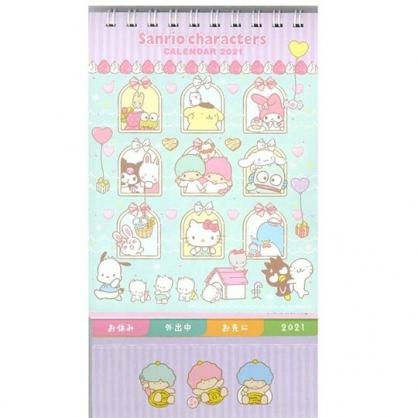 小禮堂 Sanrio大集合 日製 2021 線圈式標籤桌曆 行事曆 月曆 年曆 (粉綠 窗戶)