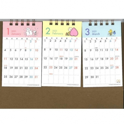 小禮堂 史努比 日製 2021 線圈式桌曆 行事曆 月曆 年曆 (月份並列)
