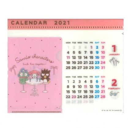 小禮堂 Sanrio大集合 日製 2021 文件夾架式桌曆 行事曆 月曆 年曆 (粉 桌椅)