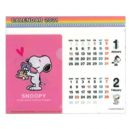 小禮堂 史努比 日製 2021 文件夾架式桌曆 行事曆 月曆 年曆 (桃 玩偶)