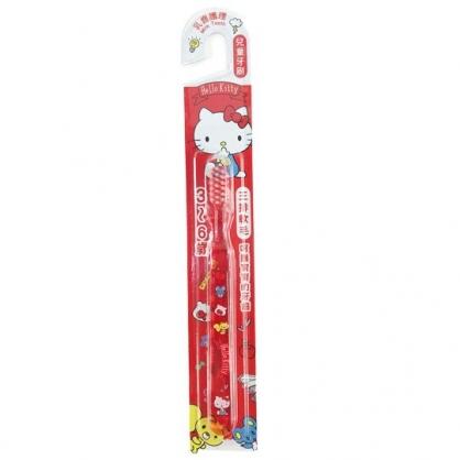 小禮堂 Hello Kitty 透明兒童牙刷 學習牙刷 學童牙刷 3-6歲適用 (紅 側坐)