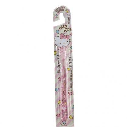 小禮堂 Hello Kitty 透明兒童牙刷 學習牙刷 學童牙刷 3-6歲適用 (粉 斜紋)