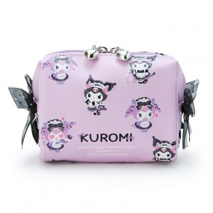 小禮堂 酷洛米 蕾絲方形皮質化妝包 皮質收納包 小物包 (紫黑 生日女僕)