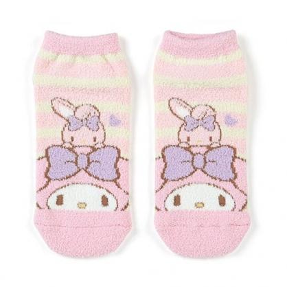 小禮堂 美樂蒂 成人絨毛短襪 保暖襪 及踝襪 船形襪 腳長23-25cm (粉黃 橫紋)