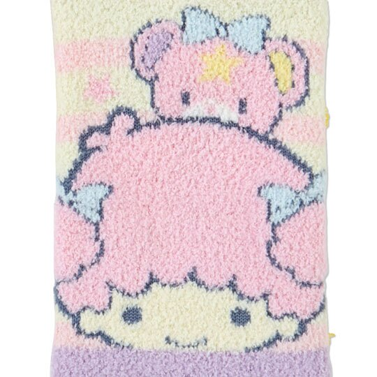 小禮堂 雙子星 成人絨毛短襪 保暖襪 及踝襪 船形襪 腳長23-25cm (紫黃 橫紋)