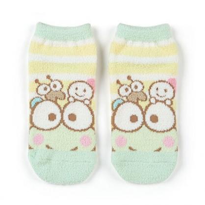 小禮堂 大眼蛙 成人絨毛短襪 保暖襪 及踝襪 船形襪 腳長23-25cm (綠黃 橫紋)