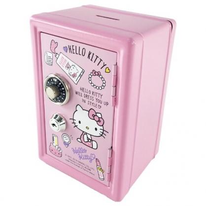 小禮堂 Hello Kitty 保險箱造型存錢筒附鎖 金屬撲滿 儲金筒 收納鐵盒 (粉)