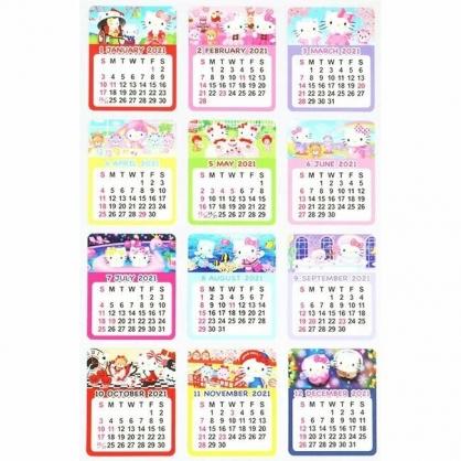 小禮堂 Hello Kitty 日製 2021 年曆月份貼紙 標記貼紙 手帳貼紙 (12枚入)