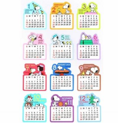 小禮堂 史努比 日製 2021 年曆月份貼紙 標記貼紙 手帳貼紙 (12枚入)
