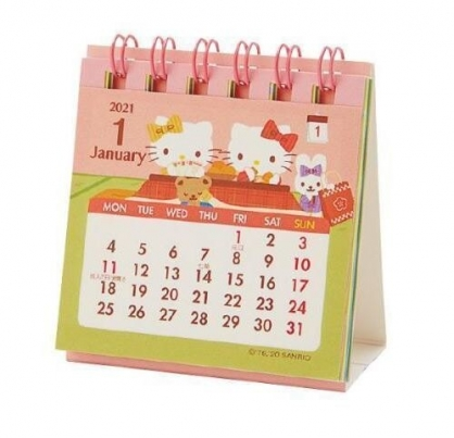 小禮堂 Hello Kitty 日製 2021 迷你線圈式桌曆 行事曆 月曆 年曆 (粉綠 暖桌)