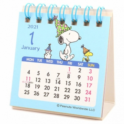 小禮堂 史努比 日製 2021 迷你線圈式桌曆 行事曆 月曆 年曆 (藍白 雪人)
