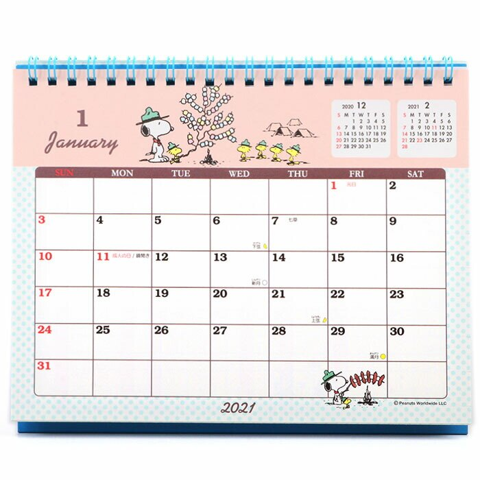 小禮堂 史努比 日製 2021 線圈式桌曆 行事曆 月曆 年曆 (淺藍 屋頂)