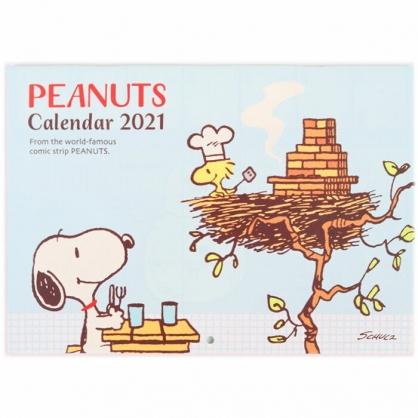 小禮堂 史努比 日製 2021 騎馬釘掛曆月曆 壁掛月曆 行事曆 年曆 (藍棕 鳥巢)