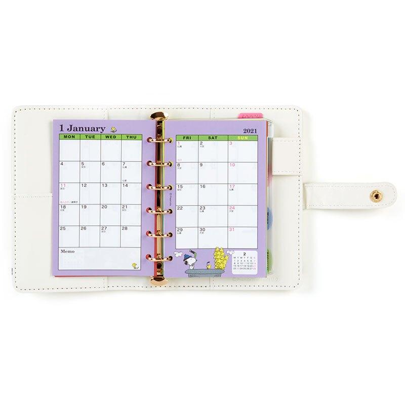 小禮堂 史努比 2021 扣式6孔活頁行事曆 手帳 年曆 記事本 六孔夾 (米 抱抱)